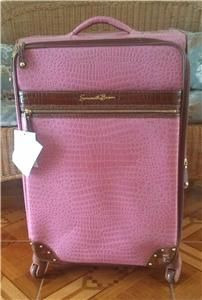 Samantha Brown Unique Croco Embossed Luggage 28 Upright Pink