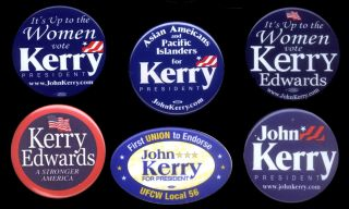 Kerry Political Buttons RARE Union Button