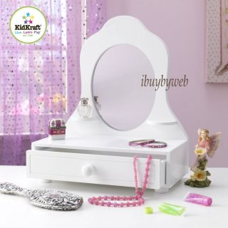 KidKraft 78110 Kids White Table Top Vanity Mirror w Storage Drawer New