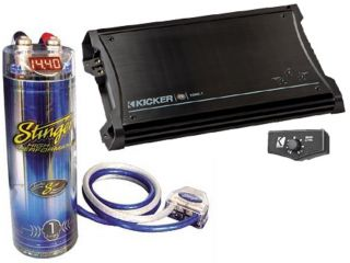 Kicker Car Audio Package ZX1000 1 Amp Amplifier Stinger SCKH1 1 Farad