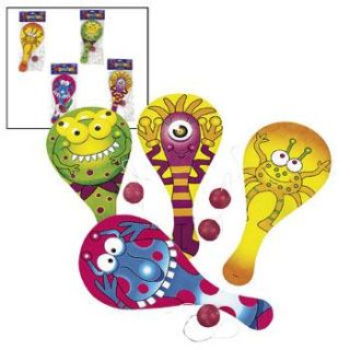 Monsters Paddle Ball Games Dozen Kids Birthday Party Favors