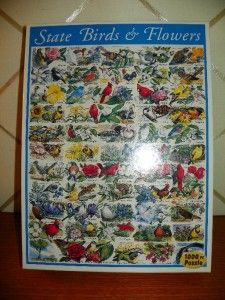 Lot of 2 1000 PC Jigsaw Puzzle (State Birds & Flowers   Dogs, Dogs