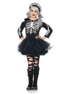 Skeleton Black Dress and Headband Outfit Kids Halloween Costume