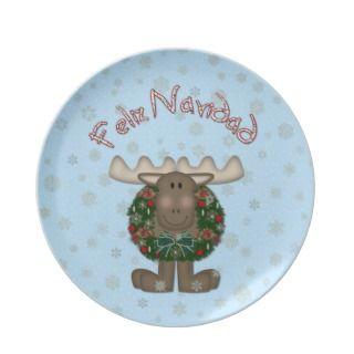 Christ Moose Feliz Navidad Christmas Plate