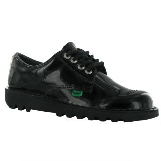 Kickers Kick Lo Patent Black Leather Womens Shoes