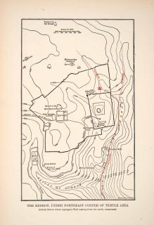 1908 Print Kidron Jerusalem Hinnom Elevation Map Plan City Walls