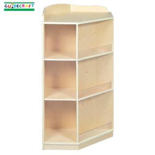 New Wooden Kids Wood Corner Book Nook Storage Shelves