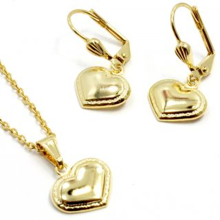 Heart Gold 18K GF Dangle Earrings Girl Kids Pendant Charm Chain
