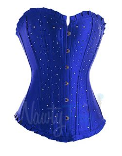 Sexy Blue Rhinestone Burlesque Corset Womens Showgirl Stage Costume