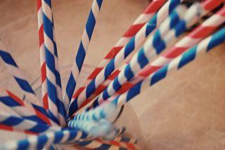 Kikkerland Design Paper Drinking Straws Box 144 Blue Stripes