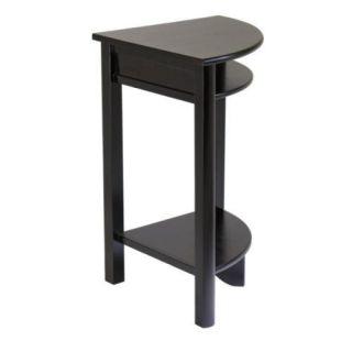 New Liso Wooden Corner Table w Cube Storage Espresso