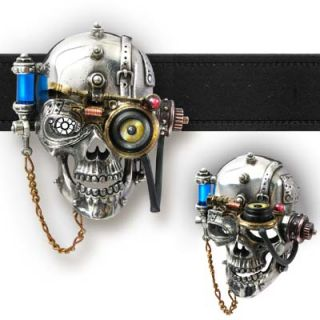 Alchemy Empire Necronaut Helmsman Steampunk Skull Pewter Belt Buckle
