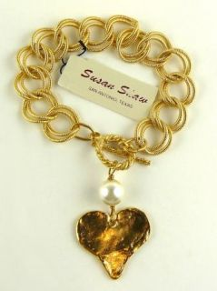 Heart and Chain Link and Pearl Bracelet Susan Shaw Free SHIP