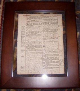 1ST EDITION KING JAMES HE BIBLE LEAF/RARE/FRAMED PSALMS 127EXCEPT