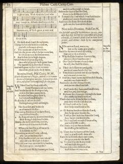 Roman Letter King James Bible Psalter Leaf RARE Psalms Stanzas