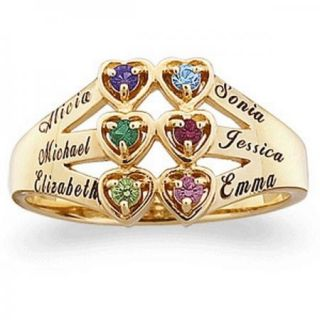 STERLING SILVER MOTHERS HEART NAME BIRTHSTONE RING   SILVER OR GOLD