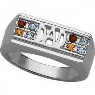 Platinum Plated Mens Fathers Dad Birthstone Ring Up to 8 Stones