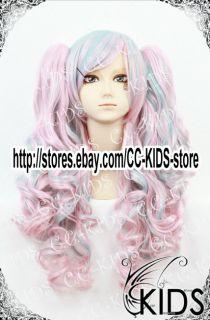 Lolita Cosplay Wig Costume Pink Mix Blue