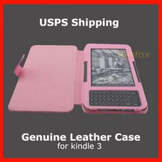 Kindle Keyboard /3 Genuine Leather Cover Case + Reading Light + Screen