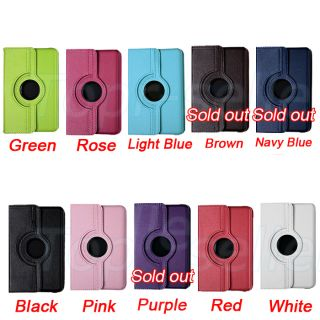 Kindle Fire 7 Tablet PU Leather 360 Rotate Case Cover Stylus Screen P