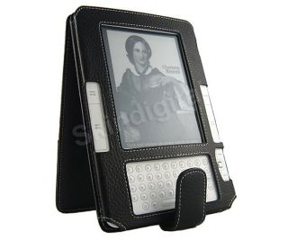 For  Kindle 2 Black Genuine Leather Case Cover Flip