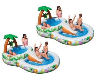 Intex Inflatable Kids Jungle Play Pool w Slide