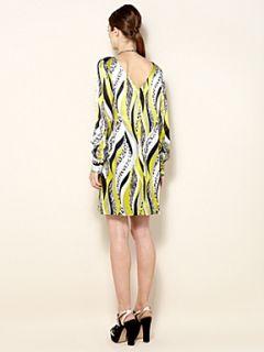 Biba Silk mixed animal print shift dress Multi Coloured