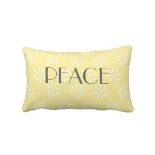 Yellow Lumbar Pillow with Peace Message
