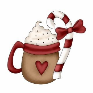 hot cocoa and candy cane photo cut out