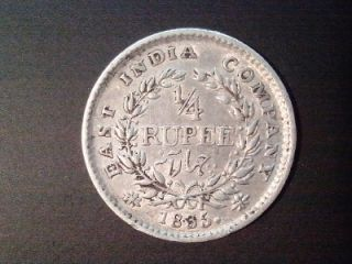 1249 009 British India King William IIII Quarter Rupee 1835 Silver VF