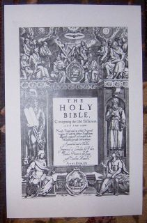 1611 1st Edition Folio King James He General Title in Facsimile