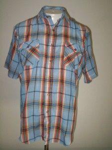 Kingsport Vintage Shirt 80s Blue Plaid Check Button Front Short Sleeve