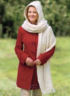 Merino Wool Kildare Hooded Scarf Cable Knit Cream Color Hand Finishing