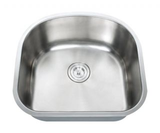 16 Gauge D Shape Stainless Steel Undermount Kitchen Sink Single Bowl