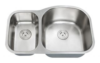 Stainless Steel Undermount Kitchen Sink (30/70) D Shape Double Bowl