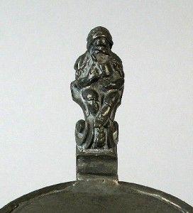 German Mettlach 1479 Etched Gnomes Making Wine Lidded Beer Stein