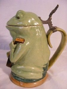 Antique German Pottery Beer Stein Frog Playing Banjo
