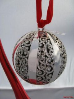 Brighton Kismet Christmas Ball Ornate Silver Holiday Ornament RARE New