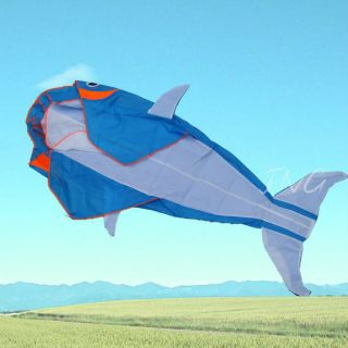 Go Fly A Kite 3D Big Whale Dolphin Frameless Parafoil Kite Toy