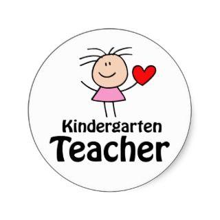 Heart Kindergarten Teacher Round Sticker