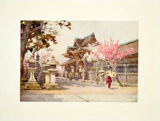 1908 Color Print Japan Kitano Tenjin Ella Du Cane Cityscape Flower
