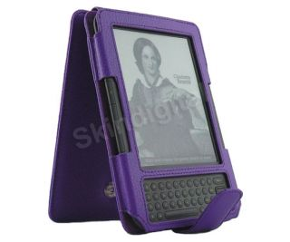 For Kindle 3 Purple Genuine Leather Case Cover Flip