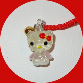 Glow in The Dark Glass Pink Hello Kitty Red Cell Phone Charm w Strap