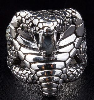 King Cobra Snake Big 925 Sterling Silver Ring Sz 8 5 Python Anaconda