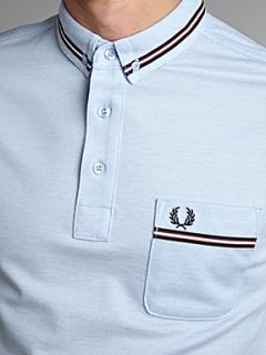 Fred Perry Twin tipped polo shirt with chest pocket Light Blue