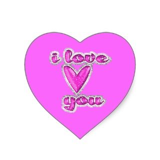 045 I Love You pink glitter heart expressions Sticker