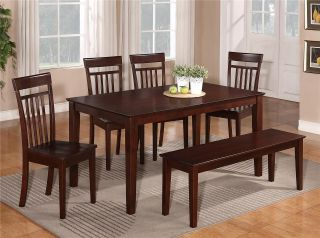 PC Dinette Kitchen Dining Room Set Table w 6 Wood Chairs in Mahogany
