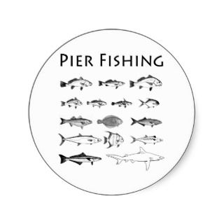 Pier Fishing Fish Species Line Art Logo Round Stickers