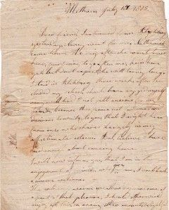 Stampless Letter ANDOVER MA Abigail Huse to Dr Silas Brown Kittery Me