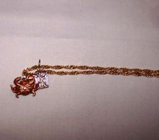 Kings point Design #62261 Crab Trinket Box w 19 Gold Tone Necklace
